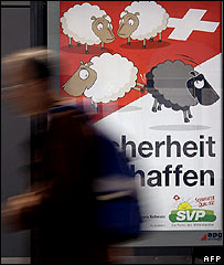 Cartel de propaganda política para el referendo suizo