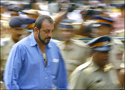 Indian actor Sanjay Dutt leaves his residence to attend the Terrorist And Disruptive Activities court in Mumbai