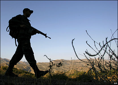 A Turkish soldier patrols in Sirnak province, on the border with Iraq, in south-eastern Turkey