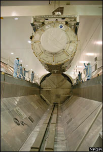 Harmony node being loaded into the shuttle (Image: Nasa)