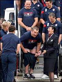 England prop Matt Stevens tries to regain his dignity