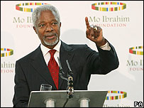 Former UN Secretary General Kofi Annan at the award ceremony