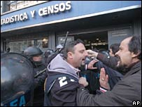 Scuffles outside the statistics institute in August