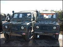 Wrecked army Land Rovers