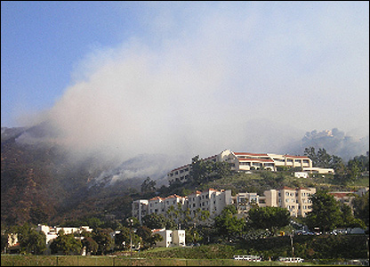 Smoke from wildfires in Malibu
