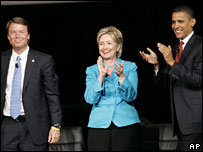 Democratic contenders John Edwards (left0 Hillary Clinton (centre) and Barack Obama (right)