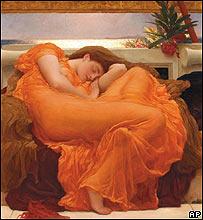 """Pintura de mujer durmiendo ( """"Flaming June"""" de Frederic Leighton)"""