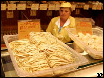 Pasta on sale at a baker in Milan