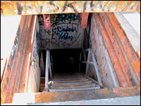 Set of entry steps to the missile base