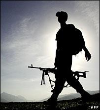 Turkish soldier patrols border with Iraq