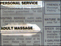 Massage parlour advertisements in the South Wales Echo
