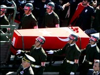 Turkish soldiers and civilians flank the coffin of Vedat Kutluca in Keskin, 100km (62 miles) east of Ankara.