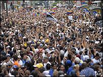 Manifestación de estudiantes en Caracas.