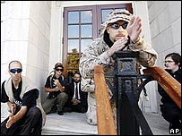 Activists pose as Blackwater security contractors for an anti-war protest on Capitol Hill on 22 October