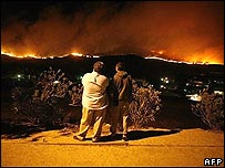 People watching fires on hills near Bonita, San Diego
