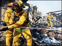 Firefighters in Malibu, California