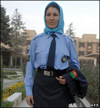 An Afghan policewoman takes part in a parade of uniforms at The Serena Hotel in Kabul
