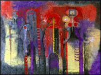 Tres Personajes, (Three People) by Mexican artist Rufino Tamayo