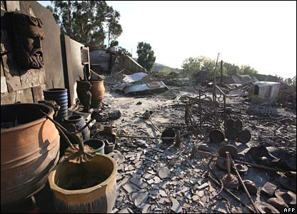 The charred remains of a home in Malibu Canyon, Malibu, on Tuesday