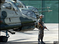 Sri Lankan airman keeps watch at the Anuradhapura military base