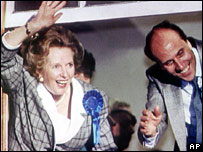Margaret Thatcher and Norman Tebbit celebrate their 1987 victory at Smith Square