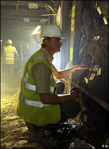 Workman in tunnel