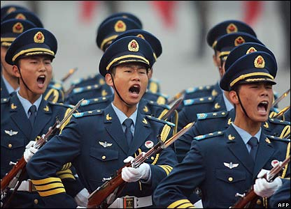 Chinese soldiers on parade in Beijing