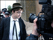 Pete Doherty arrives at court on Wednesday