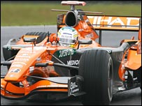 Spyker driver Adrian Sutil in action in Brazil
