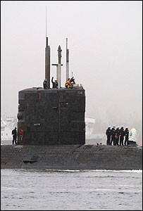 The vessel arrived at the Clyde naval base after one of the longest patrols in submarine history