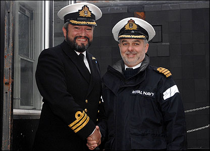 Her Commanding Officer, Commander Jim Perks with the Captain of Submarines, Captain Richard Baum, at the Clyde naval base