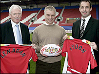Wigan owner Ian Lenagan, coach Brian Noble and chief executive Joe Lydon