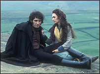 Heathcliff and Cathy on the moors in the BBC production of Wuthering Heights from 1978