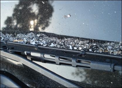 Ash on windscreen.  Photo: Kay Taylor.