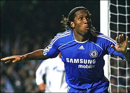 Didier Drogba celebrates scoring for Chelsea