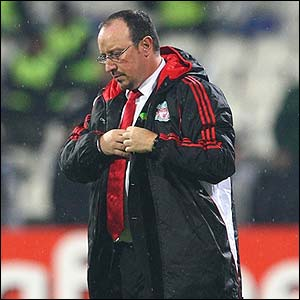 Liverpool manager Rafa Benitez shows his disappointment