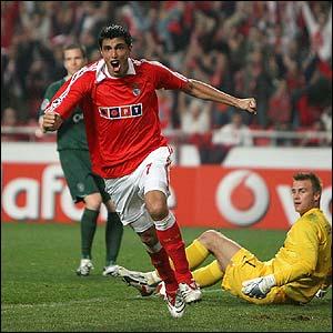 Benfica's Oscar Cardoso celebrates scoring the winner