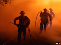 Firefighters in San Diego County, 24 Oct 2007