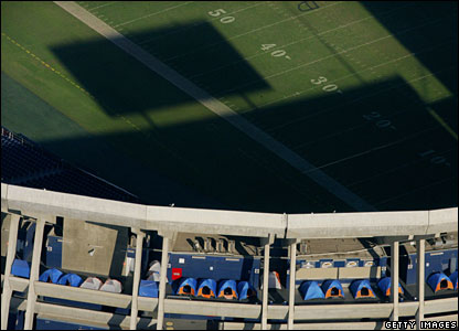 Tents in the Qualcomm Stadium in San Diego, 24 October 2007