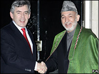 Gordon Brown with Afghan President Hamid Karzai