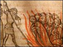Сожжение тамплиеров (средневековая гравюра)