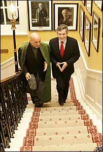 Gordon Brown and Hamid Karzai