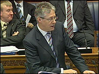 Finance Minister Peter Robinson outlined the budget