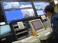 Control room of the Japan Meteorological Agency.