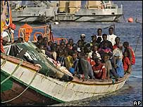 African illegal immigrants arriving in Tenerife