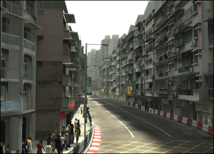 Finished scene of the Macau track in Project Gotham Racing 4