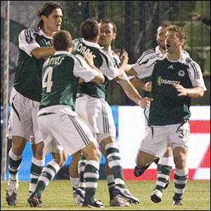 Panathinaikos celebrate after taking the lead against Aberdeen