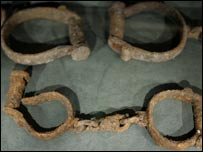 Slave shackles at Liverpool's Slavery Museum