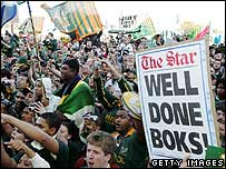 Springboks are welcomed back home