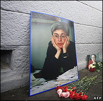 Photo of Anna Politkovskaya near spot where she was murdered